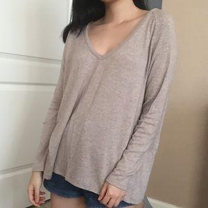 Tan V Neck Long Sleeve Sweater